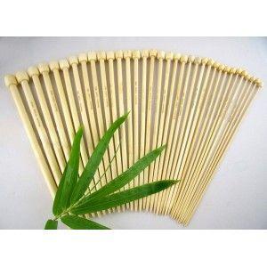 Juego de Agujas Rectas Bambú 34 cm